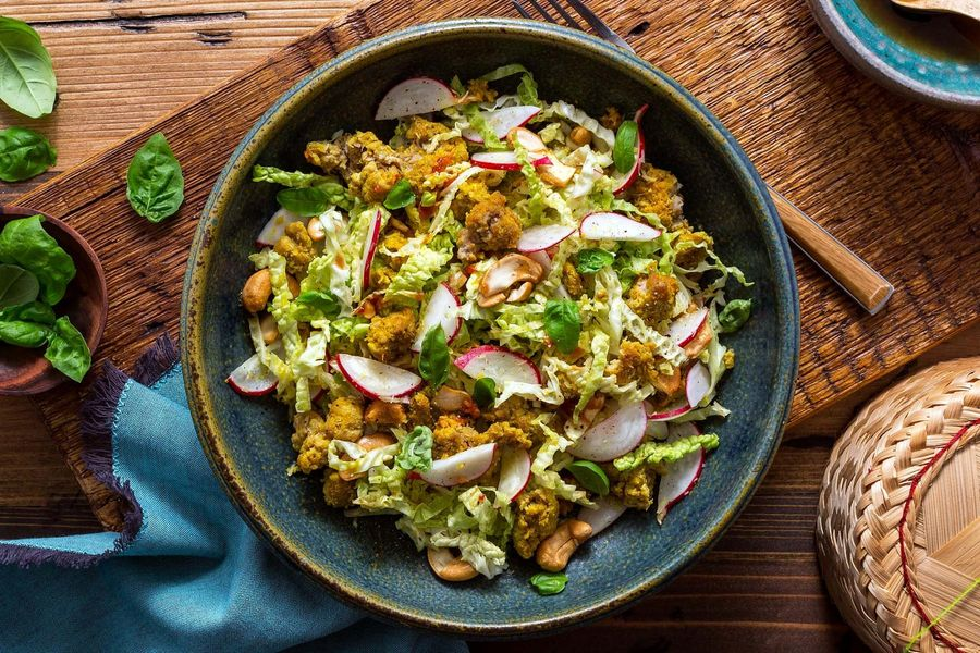 Thai turkey salad with cabbage, basil, and cashews