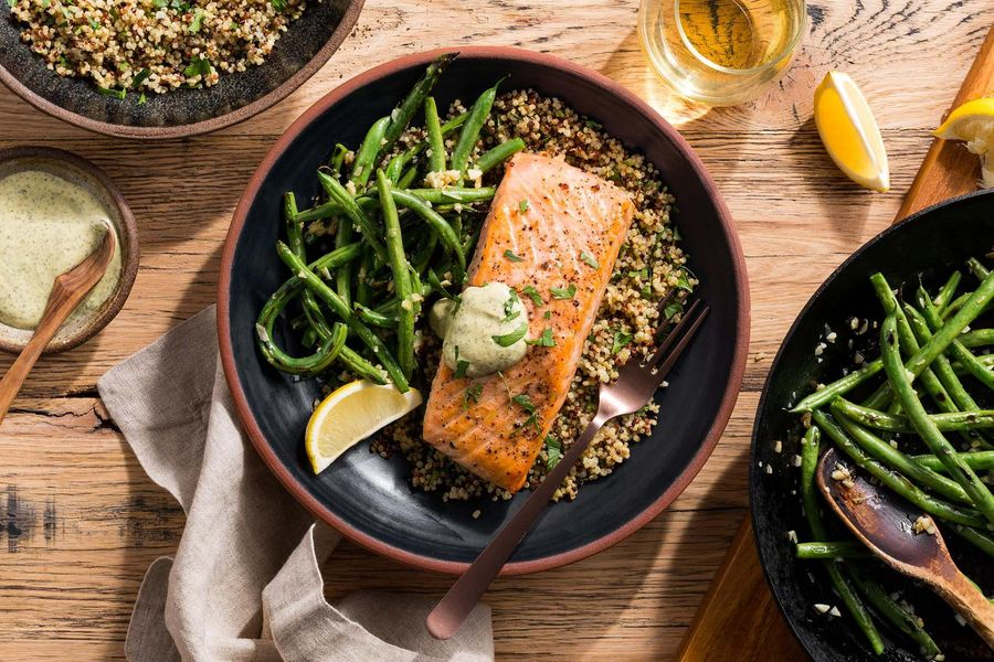 Salmon with Dijon sauce, quinoa, and green beans