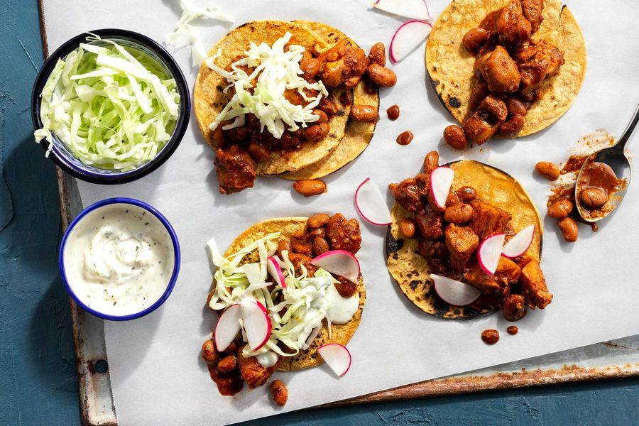 Oaxacan chicken mole tacos with lime yogurt