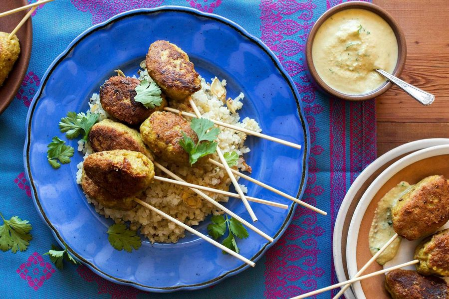 "Masala turkey kebabs with cauliflower ""rice"" and cashew chutney"
