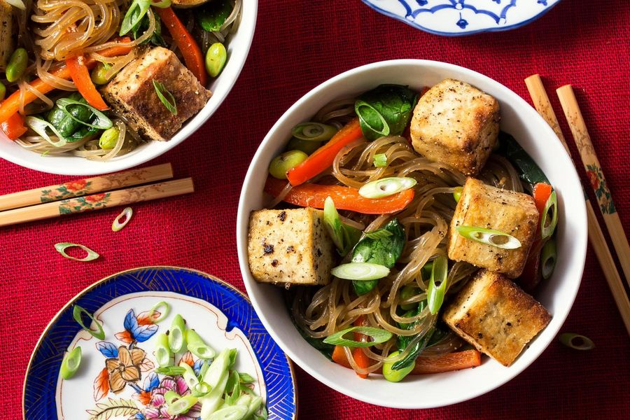 Salt-and-pepper tofu stir-fry with glass noodles