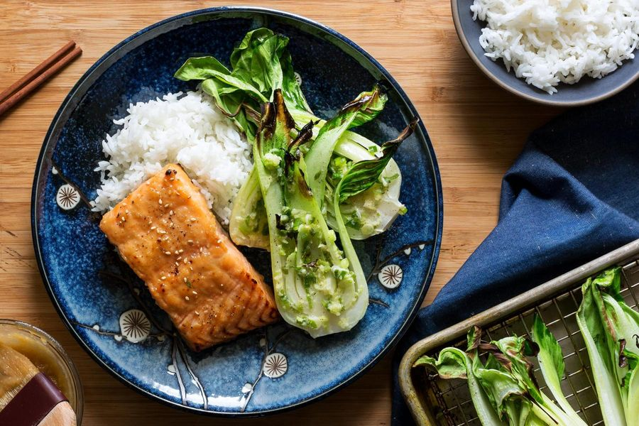 Miso-glazed roasted salmon and baby bok choy with jasmine rice