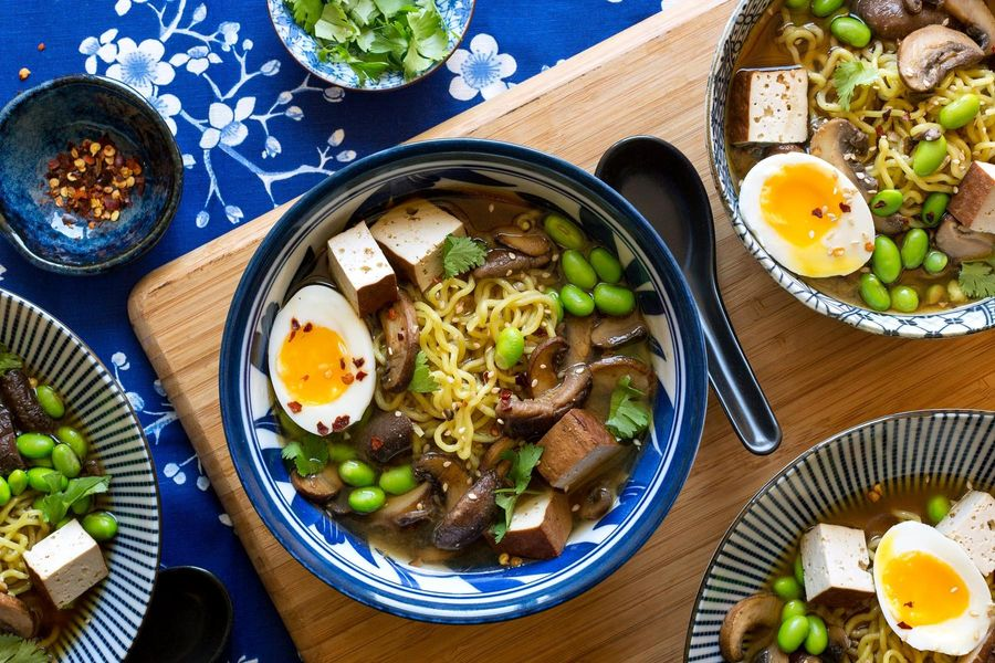 Miso ramen with tofu, mushrooms, and soft-cooked eggs