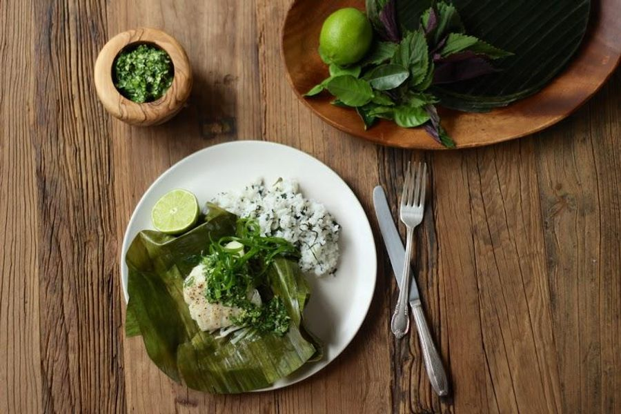 Banana leaf-wrapped cod with kaffir lime and shiso rice