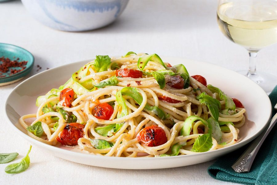 "Spaghetti ""Alfredo"" with shaved asparagus and charred tomatoes"