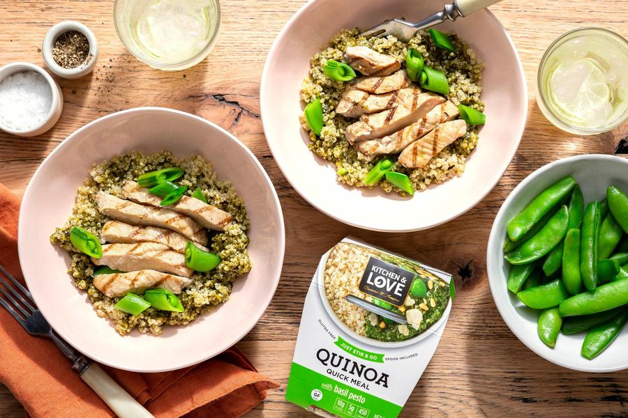 Quinoa Pesto Bowls with Chicken and Snap Peas