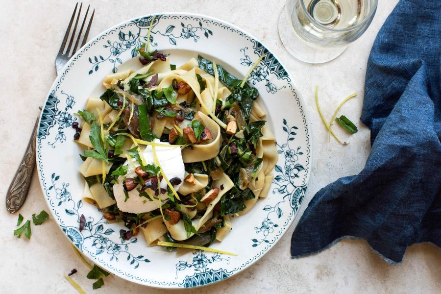 Pappardelle with collard greens, ricotta, and almond-olive relish