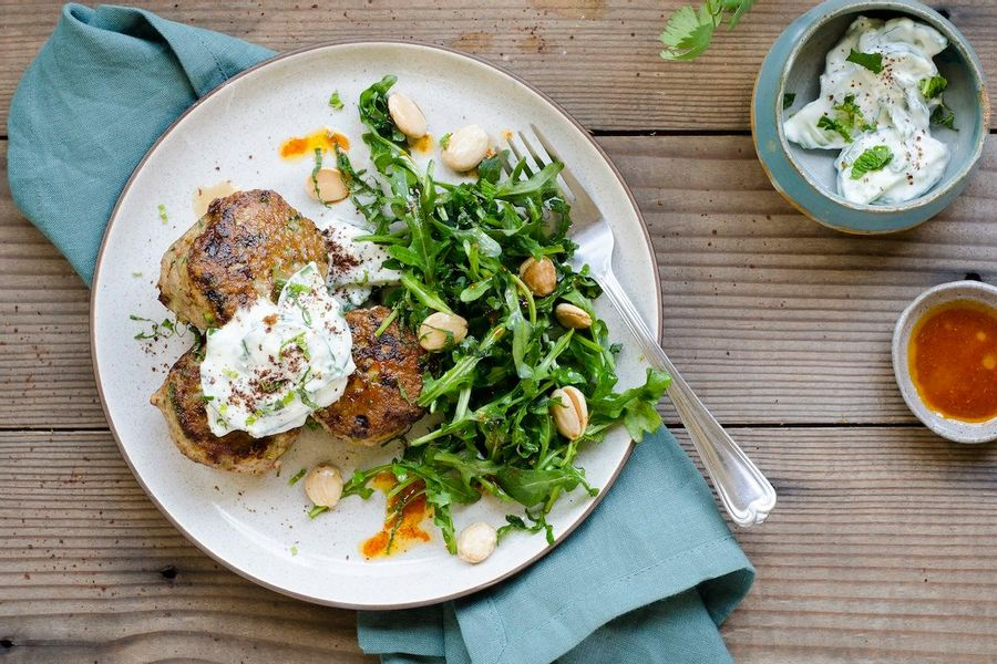 Tzatziki-topped turkey meatballs and arugula salad