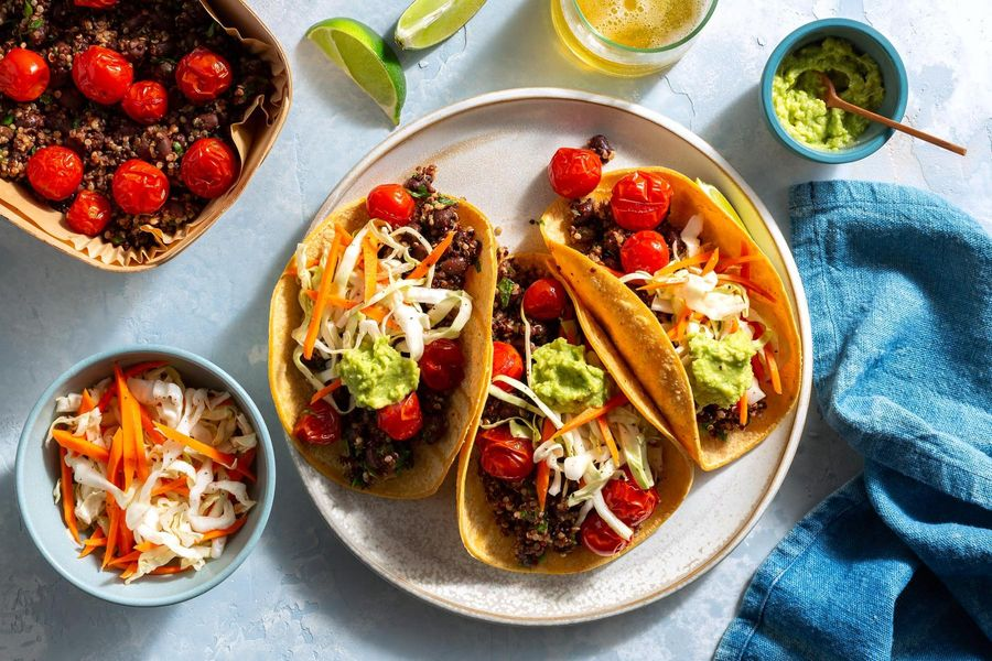 Santa Monica quinoa–black bean tacos with guacamole and cabbage slaw