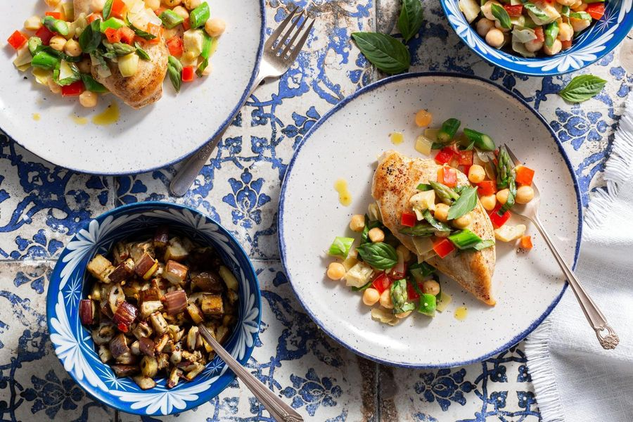 Mediterranean chicken with asparagus salsa and roasted eggplant