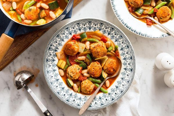 Hearty minestrone with chicken meatballs and chunky vegetables