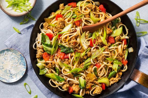 Burmese Shan noodles with pork and bok choy