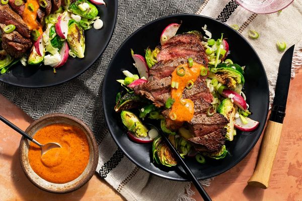 Seared steaks with Brussels sprouts and chipotle mustard vinaigrette