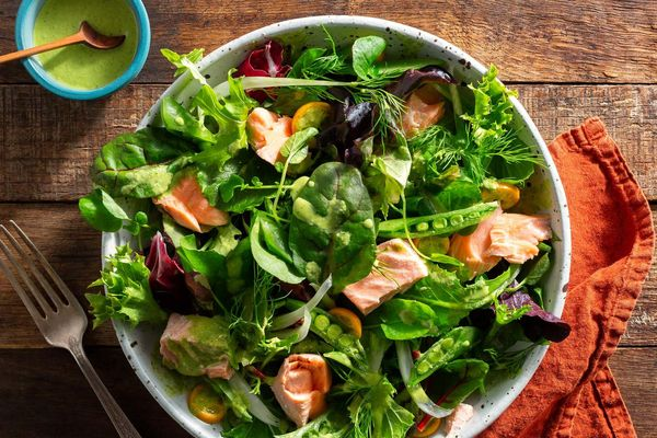 Poached salmon salad with tahini goddess dressing
