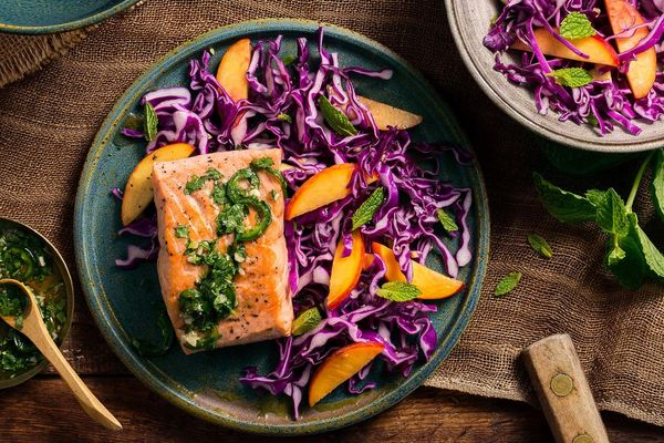 Thai-style salmon with peach-cabbage slaw