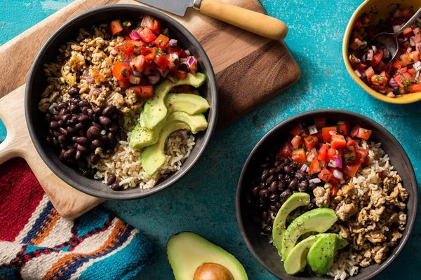 Turkey taco bowls with brown rice, black beans, and pico de gallo