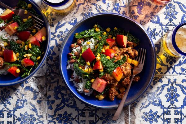 Chorizo burrito bowls with peach-corn salad and honey-lime vinaigrette