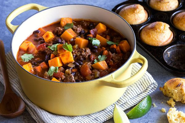Beef and black bean chili with butternut squash and gluten-free cornbread