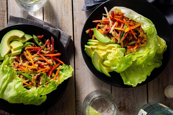 Yuba lettuce cups with avocado, snap peas, and goji berries