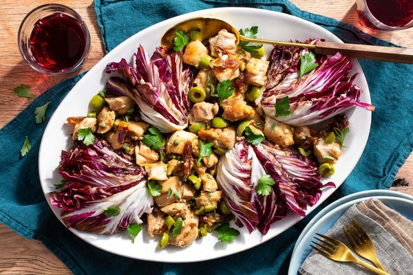 Chicken Marbella with dates and chicories