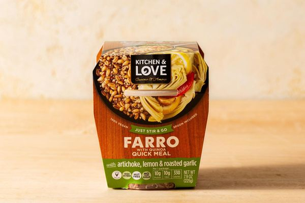 Farro cup with artichoke, lemon, and roasted garlic