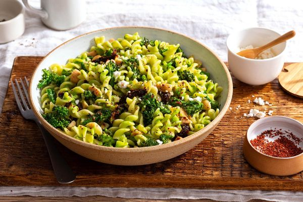 Fresh fusilli with broccoli rabe and ricotta salata
