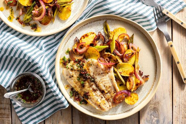 Sole with caramelized onions, potatoes, and sun-dried tomato za'atar