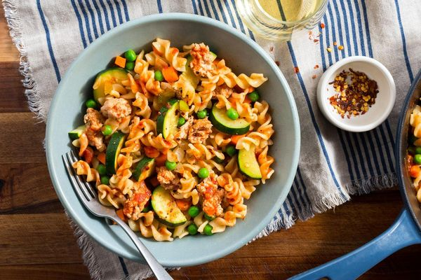 Turkey Bolognese with fusilli, zucchini, and peas