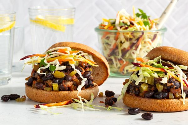 Black bean sloppy joes on whole wheat buns with coleslaw