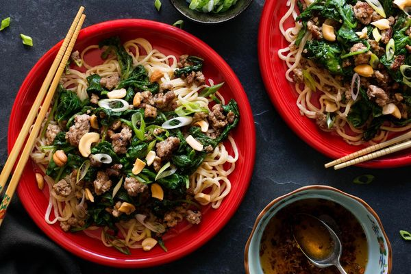 Sichuan dan dan noodles with ground pork and mustard greens