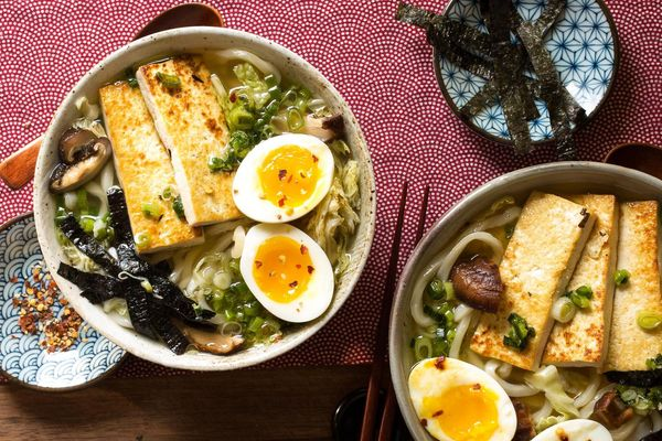 Udon noodle soup with tofu, dashi, and soft-cooked eggs