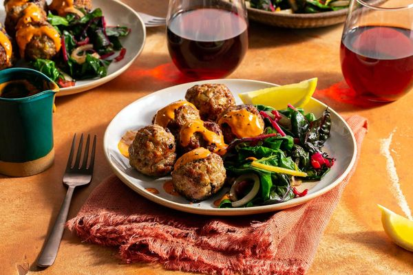 Mediterranean turkey meatballs with chard and red pepper–cashew crema