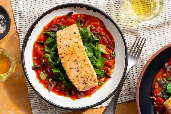 Salmon alla puttanesca with chard