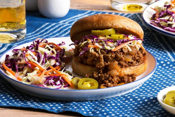 Beef sloppy joes with pickled jalapeños and classic creamy coleslaw