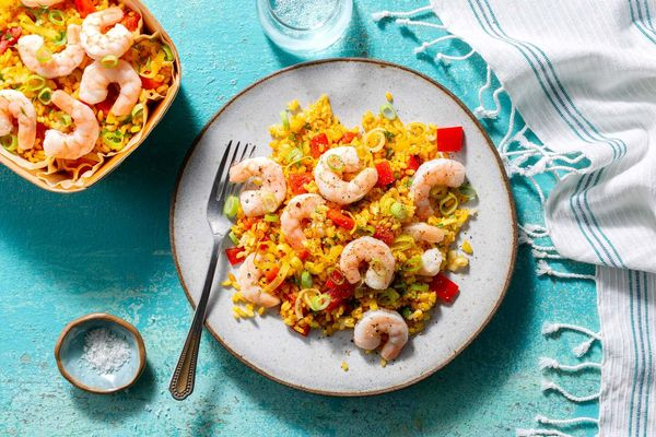 Shrimp paella with fire-roasted tomatoes and bell pepper