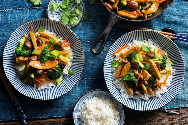 Chicken teriyaki with stir-fried vegetables and basmati rice