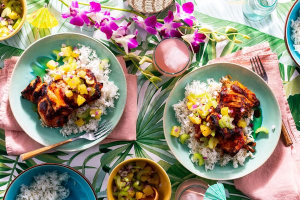 Huli huli chicken with pineapple-celery slaw