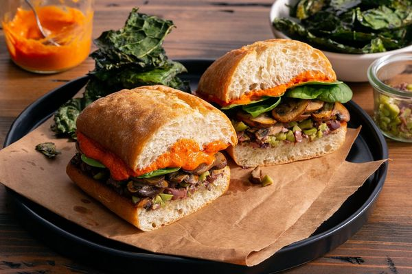 Mushroom muffulettas with olive tapenade and kale chips