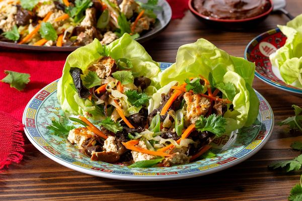 Mu shu lettuce cups with braised tofu and wood ear mushrooms