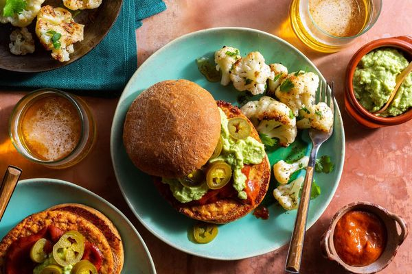 Spicy barbacoa tofu burgers with chipotle cauliflower and guacamole