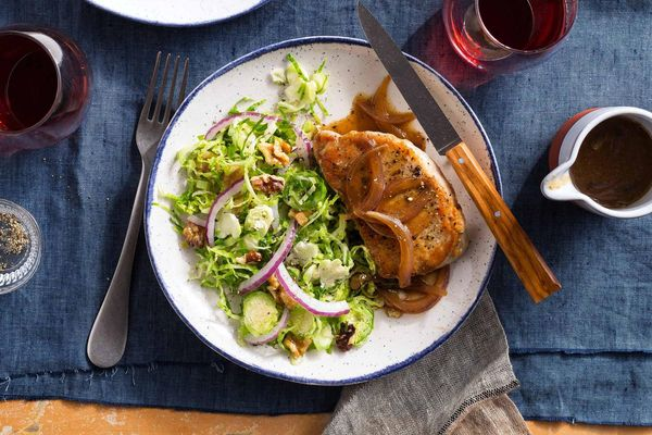 Pork chops and onion gravy with Brussels sprout slaw