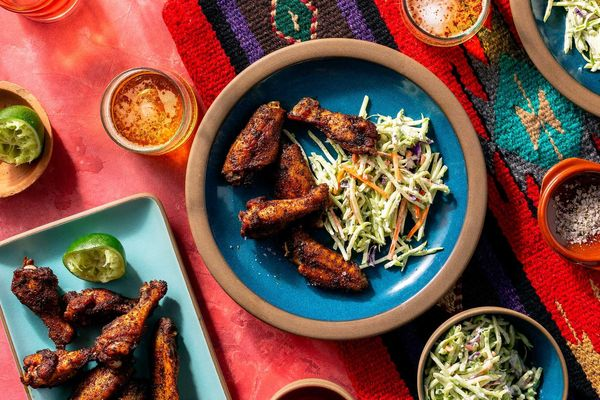 Smoky paprika–lime wings and broccoli slaw with ranch dressing