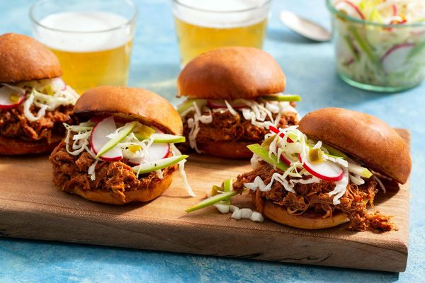 Quick and easy barbacoa pulled-pork sliders with apple slaw