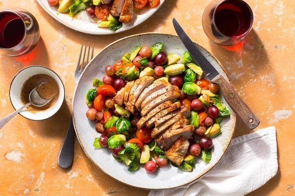 Mediterranean pork chops with Brussels sprouts and lemon vinaigrette