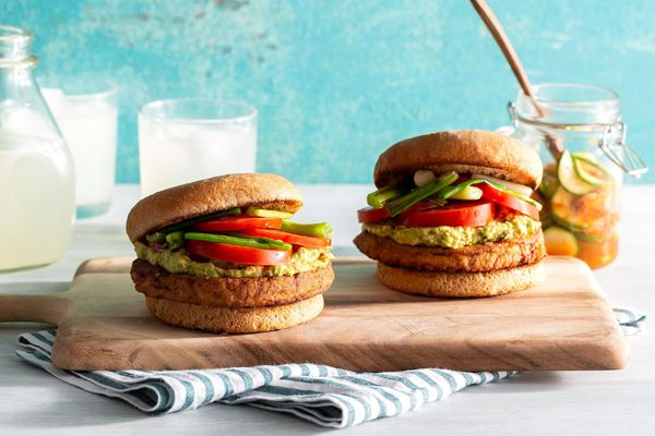 Korean-style tofu burgers with quick-pickled zucchini and kimchi
