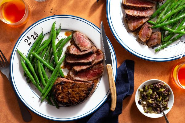 French Quarter steak with green beans and olive tapenade