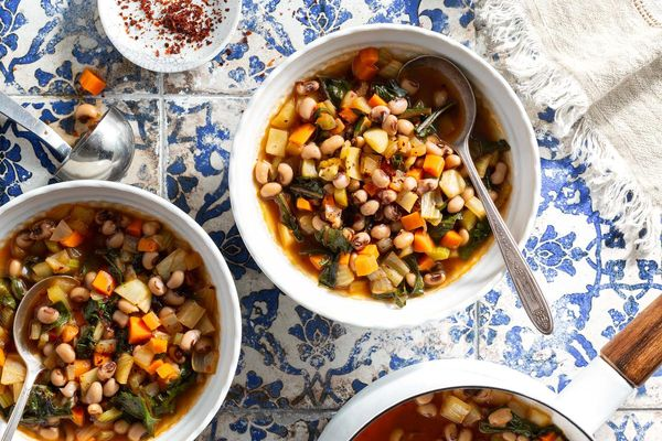 Ikarian black-eyed pea soup with wilted greens