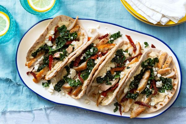 "Chicken and hummus flatbread ""tacos"" with Greek kale salad"