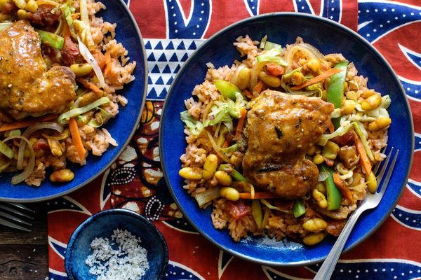 Soweto chicken chakalaka with West African jollof rice