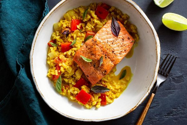 "Seared salmon with panang curried cauliflower ""rice"""